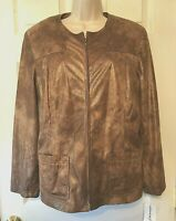 Alfred Dunner Women's Jacket Size 16 Brown Gold Zip Front Coat NWT $76