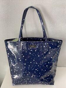 Kate Spade New York Blue Bon Shopper Daycation Stars Night Sky Tote Bag NWT