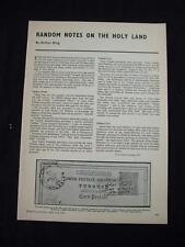 RANDOM NOTES ON THE HOLY LAND by ARTHUR KING - ARTICLE FROM STAMP COLLECTING '72