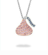 "So Sweet! .925 Silver Hershey's Kisses Shape Pink CZ Pendant w/ 16-17.5"" Chain"