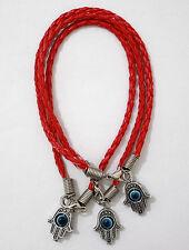 3 Lucky Hamsa String Kabbalah Bracelets RED w/ Revolving Evil Eye Charm Pendants