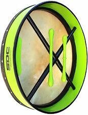 BODHRAN DRUM Irish Celtic 18 Inch Drums 2 Tippers GREEN 01