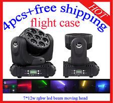 7*12W Led Beam Moving Head RGBW Light Stage Light 4pcs Flight Case Free Shipping