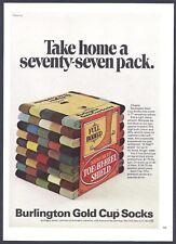 BURLINGTON Gold Cup Socks - 1969 Vintage Print Ad