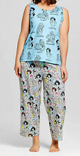 Womens Disney Princess Pajama Size LARGE Cinderella Belle Snow White Cotton NWT