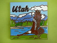 "Ceramic Art Tile 6""x6"" Utah Bald Eagle mountain lake keepsake TRIVET WALL I68"