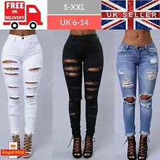 Womens Ladies Ripped Skinny Jeans Style Jeggings Pants Trousers Mid High Waisted