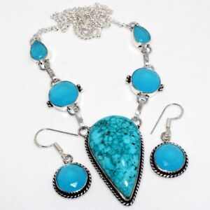 Turquoise Blue Chalcedony 925 Silver Plated Handmade Necklace Earrings Set GW