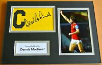 DENNIS MORTIMER Signed Captains Armband A4 Photo Display Aston Villa PROOF COA