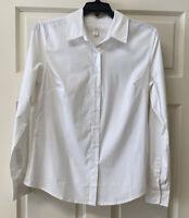 Boston Proper Women's Sz 4 Long Sleeve Button Down Collared White Tailored Shirt
