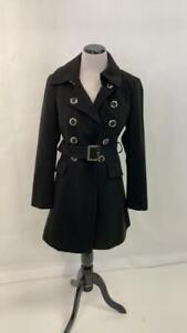 Gorgeous White House Black Market Wool Black Coat Sz XS with Belt