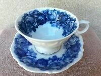 Beautiful Vintage Blue & White Tea Cup and Saucer Cabbage Rose