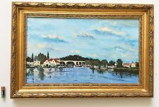 Vintage Oil Painting French Impressionist Seascape Gilt Wood Frame Signed