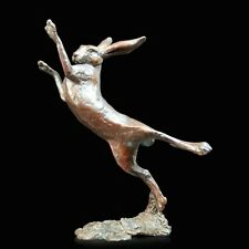 Small Hare Boxing Solid Bronze Foundry Cast Sculpture Michael Simpson [920]