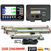 """10"""" & 40"""" Linear Scale 2Axis DRO Display LCD Digital Readout Milling Lathe Kit"""
