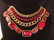 Gold Tone Red Glass Metal Chunky 4 Strand Necklace & Earrings Set