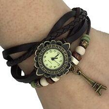 Leather Watch Weave Wrap Around Retro Bracelet Lady Woman's Wrist Watch