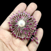 Heated Marquise Ruby White Pearl 925 Sterling Silver Big Flower Brooch