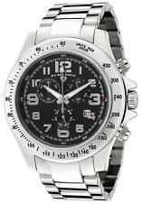 SWISS LEGEND EOGRAPH CHRONOGRAPH STAINLESS STEEL BLACK DIAL SILVER-TONE BAND