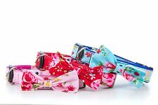 Pretty Floral Vintage Bow Dog Collar - pink, blue or red - Handmade in UK