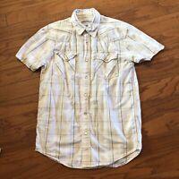 Aeropostale Mens Western Pearl Snap Button Shirt Small Short Sleeve Plaid Cowboy