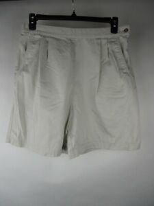 VINTAGE Talbots Womens Beige Cotton Pleated High Rise Side Zip Mom Shorts sz 16