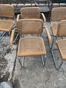 Marcel Breuer Cane Cesca Stendig Cantilever Style Rare Set Of 8 Chairs 2 Captain