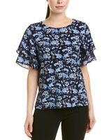 CECE Women's Tiered Sleeve Jewel Neck Casual Top Navy Floral Size M