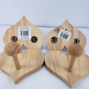 Lot 4 Wood Coat Hook Heart Shaped Single Peg Unfinished Craft