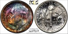 1959 Roosevelt Dime  MS64 FB  PCGS  MONSTER RAINBOW TONED OBV !