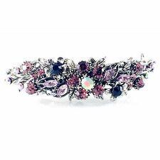USA Vintage BARRETTE Rhinestone Crystal Hair Clip Hairpin Elegant Purple 5_20