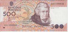PORTUGAL BANKNOTE P180c 500 ESCUDOS 1989 CH12, PREFIX BDC, XF+