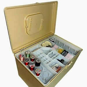 Large Wilson Wil-Hold Yellow Plastic Sewing Case W Tray Misc Supplies Thread GUC