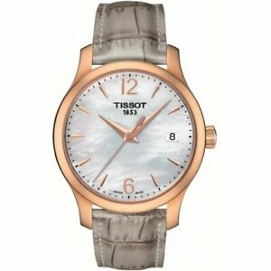 Tissot Swiss Made T-Trend Tradition Ladies' MOP Leather Strap Watch