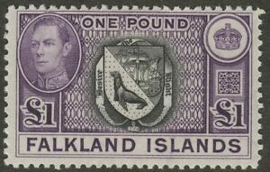 Falkland Islands 1949 KGVI £1 Black and Bright Violet Mint SG163 cat £130+