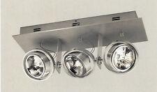 Regleta decorativa con 3 focos en aluminio cepillado