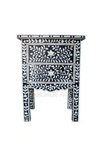 Handmade Bedside Wood Bone Inlay work Floral Two Drawer Bedside Table Black