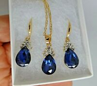 Vintage style gold plate blue rhinestone necklace earring set Art Deco style