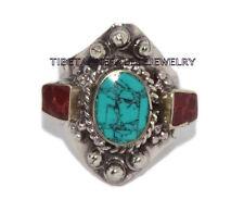 Adjustable Turquoise Ring Boho ring Coral ring Tibetan ring Tibet Ring RB14