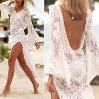 woman dress cover up lace Backless White Sexy Hollowed beach dress Long fashion