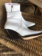 Zara White Leather Cowboy Ankle Boots Size 5