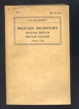 Military Dictionary English French, French English - War Department 1943  R