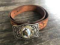 Vintage Horse Head Belt Buckle And Leather Belt Fits 34-40