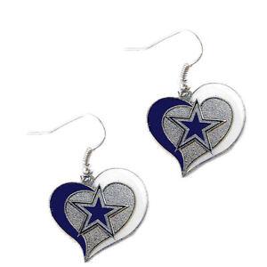 Dallas Cowboys swirl heart earring dangle charm