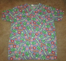 Women's O'LICO Scrub Top Best Friends Green Turtles Size Small