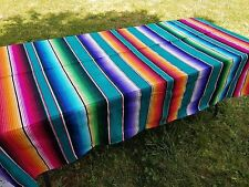 "Mexican Blanket Sarape Saltillo Multi-Colored A - Green (Large 60"" x 84"")"