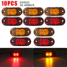 10pcs Amber Red Led Car Truck Trailer Rv Oval 25 Side Clearance Marker Lights
