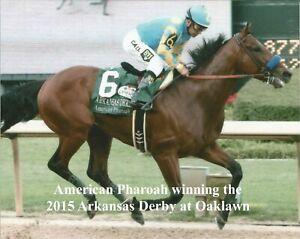 "2015 - AMERICAN PHAROAH winning the Arkansas Derby at Oaklawn - 10"" x 8"""