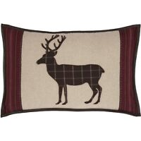 WYATT DEER Applique Pillow Rustic Cabin Lodge Woodland Hunting Plaid Khaki VHC