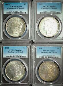 PCGS Slabbed Morgan Dollar Coin Lot AU UNC Details Morgan Dollar 90% US Silver